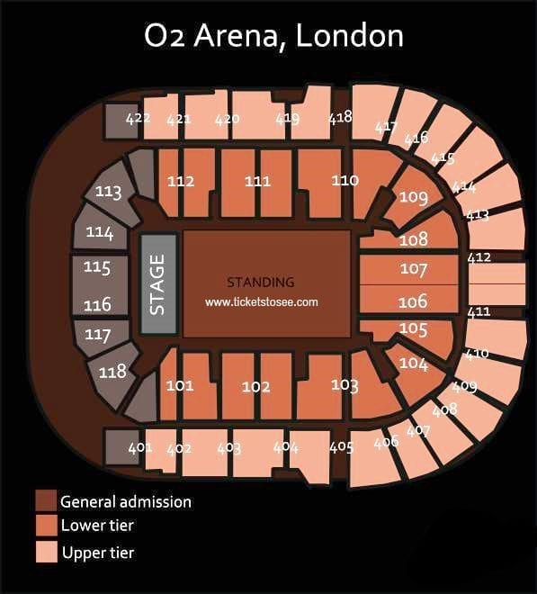 The O2 Arena Seating Plan Large Standing Area