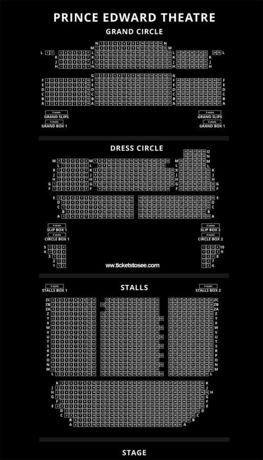 Prince Edward Theatre Seating Plan London